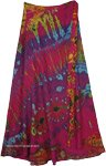 XXL Tangy Pink Long Wrap Skirt with Boho Tie Dye