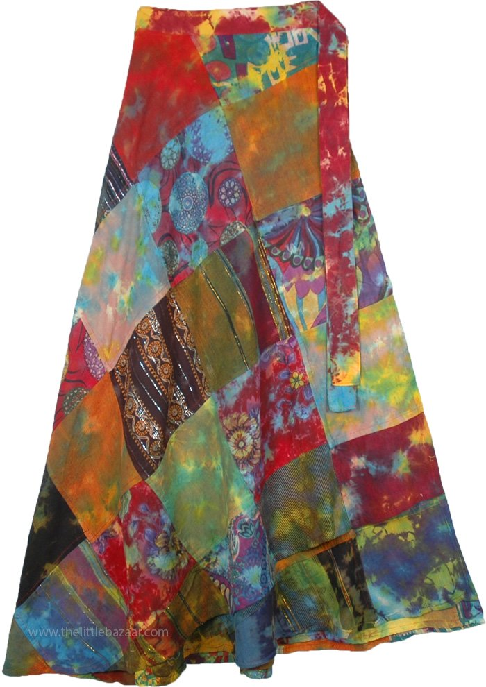 Soulful Gypsy Tie Dye Patchwork Wrap Around Skirt