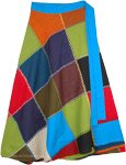 Prismatic Solid Patchwork Wrap Around Mid Length Skirt