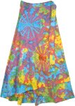 Petite Wrap Around Summer Cotton Skirt in Hippie Tie Dye