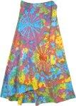 Petite Wrap Around Summer Cotton Skirt in Hippie Tie Dye