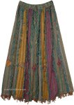 Vertical Patchwork Bohemian Gypsy Skirt with Thread Fringes