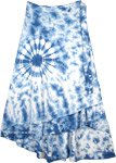 Plus Size Blue Tie Dye Long Cotton Skirt for Summer