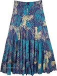 Celest Blue Wave Boho Gypsy Long Flared Skirt