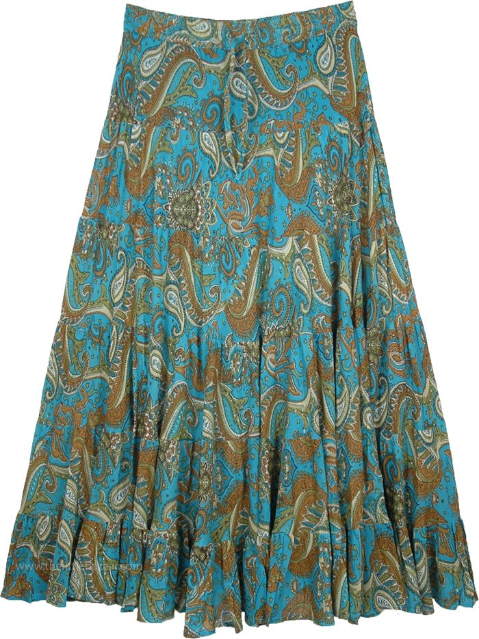 4106c3448a Tipsy Teal Paisley Print Long Cotton Skirt for Summer   Blue   Misses,  Tiered-Skirt, Maxi Skirt, Peasant, Floral, Printed