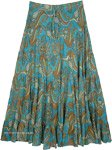 Tipsy Teal Paisley Print Long Cotton Skirt for Summer