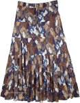 Artist Cotton Tiered Skirt with Blue and Brown Graphic