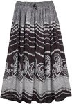 Black and White Floral Rayon Street Summer Skirt