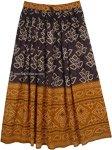 Coffee and Black Streetwear Rayon Long Skirt