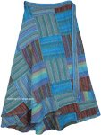 Plus Size Striped Blue Patchwork Cotton Wrap Around Long Skirt
