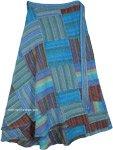 Plus Size Striped Blue Patchwork Cotton Wrap Around Long Skirt