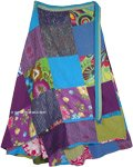 Plus Size Long Hippie Wrap Skirt in Blue Patchwork