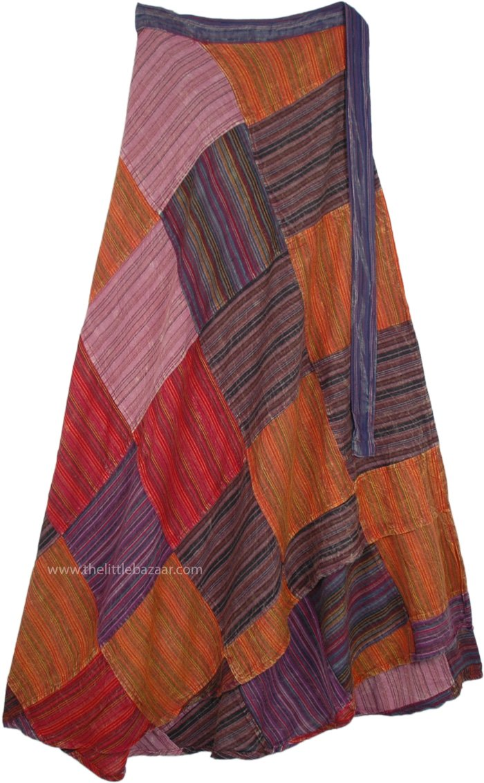 Fall Harvest Bohemian Gypsy Patchwork Wrap Around Long Skirt