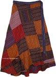 Plus Size Fall Harvest Bohemian Gypsy Patchwork Wrap Around Skirt