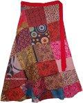 Plus Size Long Hippie Wrap Skirt with Multicolor Patchwork