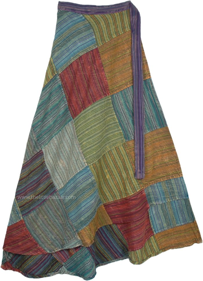 Earth Bohemian Gypsy Patchwork Long Wrap Around Skirt