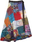 Plus Size Gypsy Moondust Patchwork Wrap Skirt in Cotton