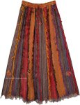 Vertical Patchwork Gypsy Skirt with Thread Fringes