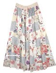 Ivory Mixed Print Boho Patchwork Rayon Long Skirt
