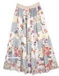 Ivory Mixed Print Boho Patchwork Rayon Long Skirt
