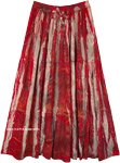 Red and Beige Boho Street Wear Rayon Long Skirt