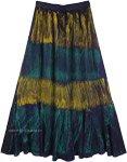 Peacock Colors Inspired Gypsy Rayon Long Skirt