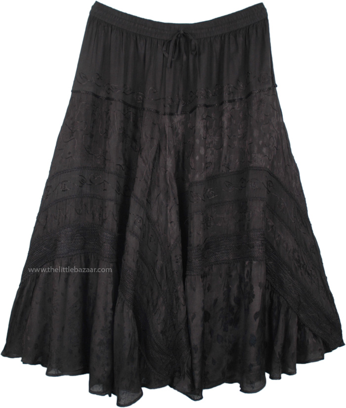 Plus Size Rayon Embroidered Medieval Gypsy Black Skirt
