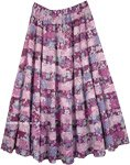 Lilac Floral Cotton Summer Full Maxi Skirt