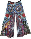 Boho Gaucho Layered Patchwork Pants Mandala Print