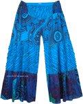 Lochmara Patchwork Flared Wide Legs Pants in Blue Florals
