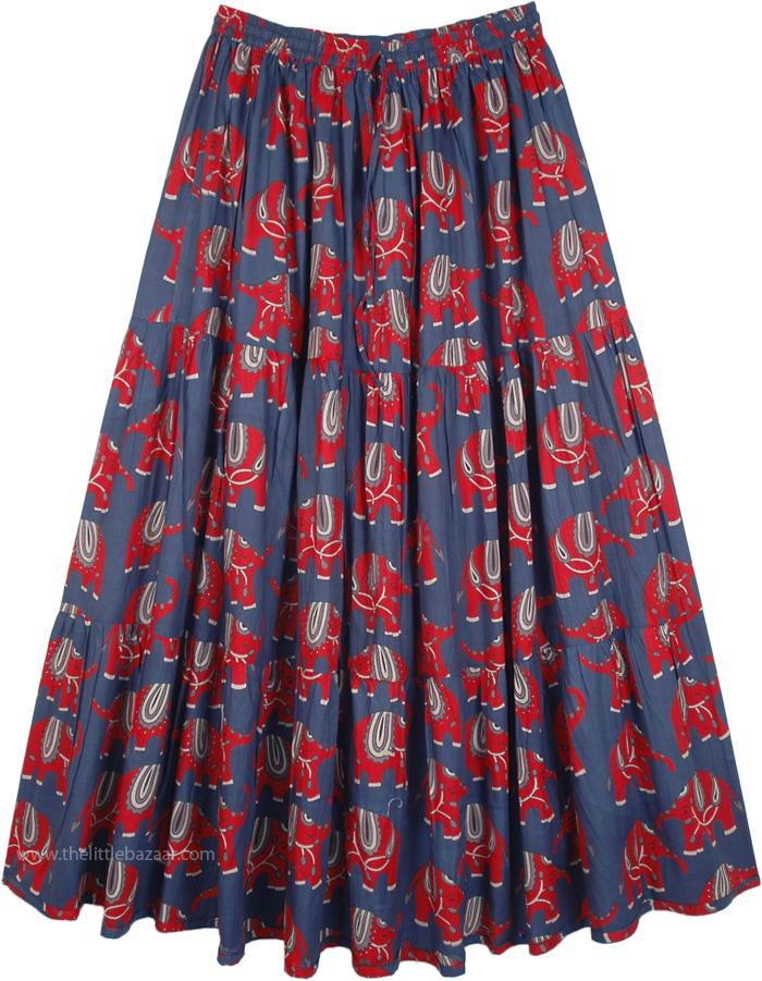 040b1699cc Elephant Print Navy Blue Cotton Long Elastic Waist Skirt | Blue ...