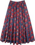 Elephant Print Navy Blue Cotton Long Elastic Waist Skirt