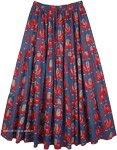 Elephant Print Navy Blue Cotton Long Elastic Waist Skirt