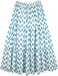 Summer Cotton Maxi Full Long Skirt in White with Blue Print