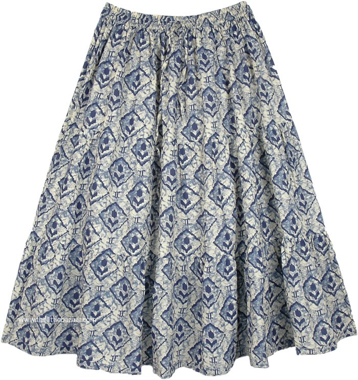 Cotton Boho Mid Length Skirt in an Artistic Print