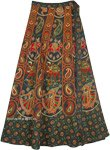 Dancing Girl Green Wrap Skirt with Traditional Elephants