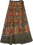 Dancing Girl Green Wrap Skirt with Traditional Elephants