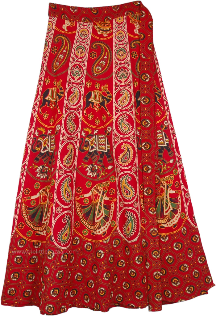 fe08418554 A Majestic Indian Elephant Print Skirt in Cotton | Red | Wrap-Around ...
