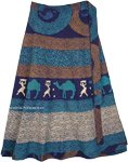 Blue Tribal Patterns Cotton Petite Wrap Skirt