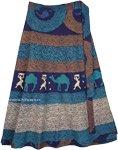 Blue Tribal Patterns Cotton Petite Wrap Skirt