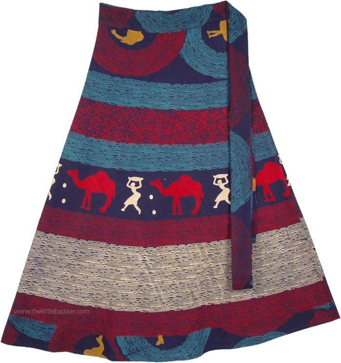 Petite Long Desert Boho Summer Cotton Wrap Skirt Blue