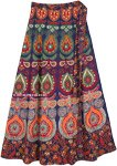 Indian Peacock Maxi Bohemian Cotton Wrap Skirt
