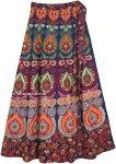 Indian Peacock Maxi Bohemian Cotton Wrap Skirt