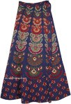 Fiji Blue Ethnic Block Print Wrap Skirt in Cotton