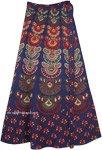 Fiji Blue Ethnic Block Print Wrap Skirt in Cotton