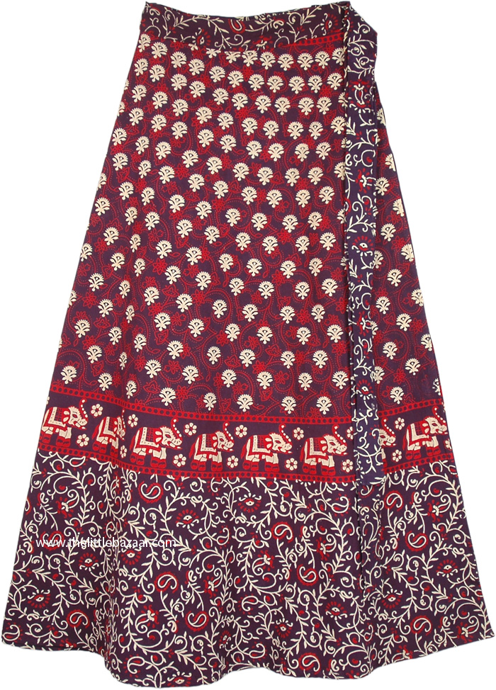 Wrap Style Indian Cotton Long Skirt with Elephant Print