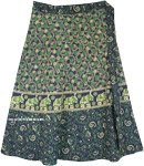 Plus Size Elephant Print Green Cotton Wrap Around Skirt