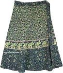 Plus Size Elephant Print Green Cotton Wrap Around Skirt