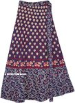 Navy Blue Cotton Wrap Elephant Print Skirt