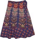 Fiji Blue Ethnic Block Print Cotton Wrap Mid Length Skirt Plus Size